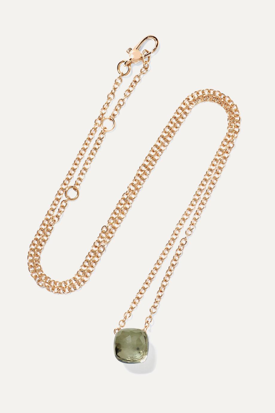 Pomellato Nudo 18-karat white and rose gold prasiolite necklace
