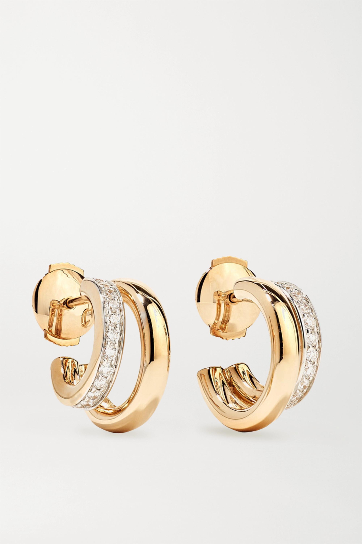 Pomellato 18-karat rose gold diamond hoop earrings