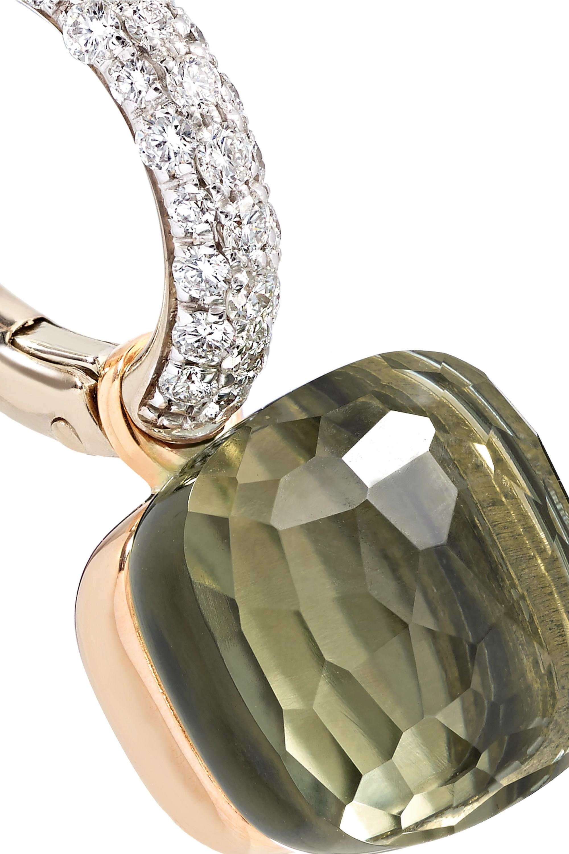 Pomellato Nudo 18-karat white gold, prasiolite and diamond earrings