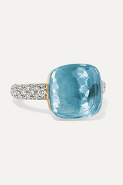 Nudo 18-karat white gold, topaz and diamond ring
