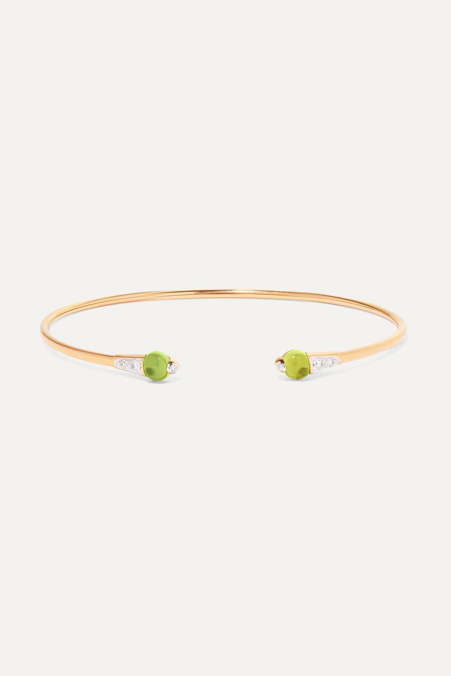 Pomellato 18-karat rose gold, peridot and diamond cuff