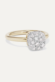 Nudo 18-karat rose and white gold diamond ring