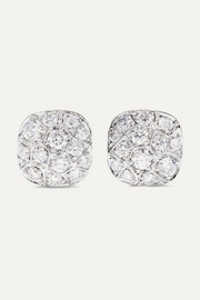Nudo Solitaire 18-karat rose and white gold diamond earrings