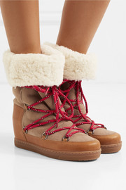 Nowly shearling-lined textured-leather and suede snow boots