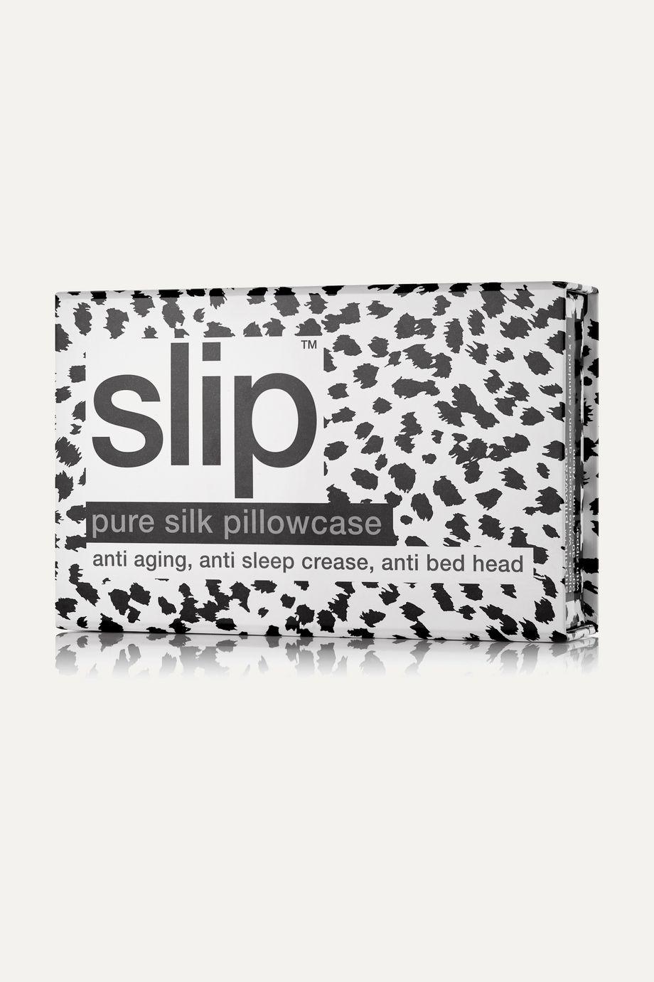 Slip Taie d'oreiller queen size en soie à imprimé léopard et à broderies