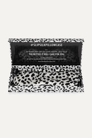 Leopard-print silk eye mask