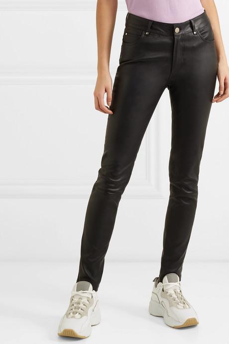 Stella leather slim-leg pants