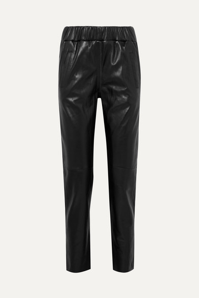 STAND   STAND - Noni Leather Track Pants - Black   Goxip