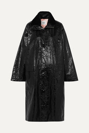 Maia crinkled glossed faux leather coat