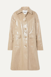 STAND Debbie oversized coated linen and cotton-blend coat