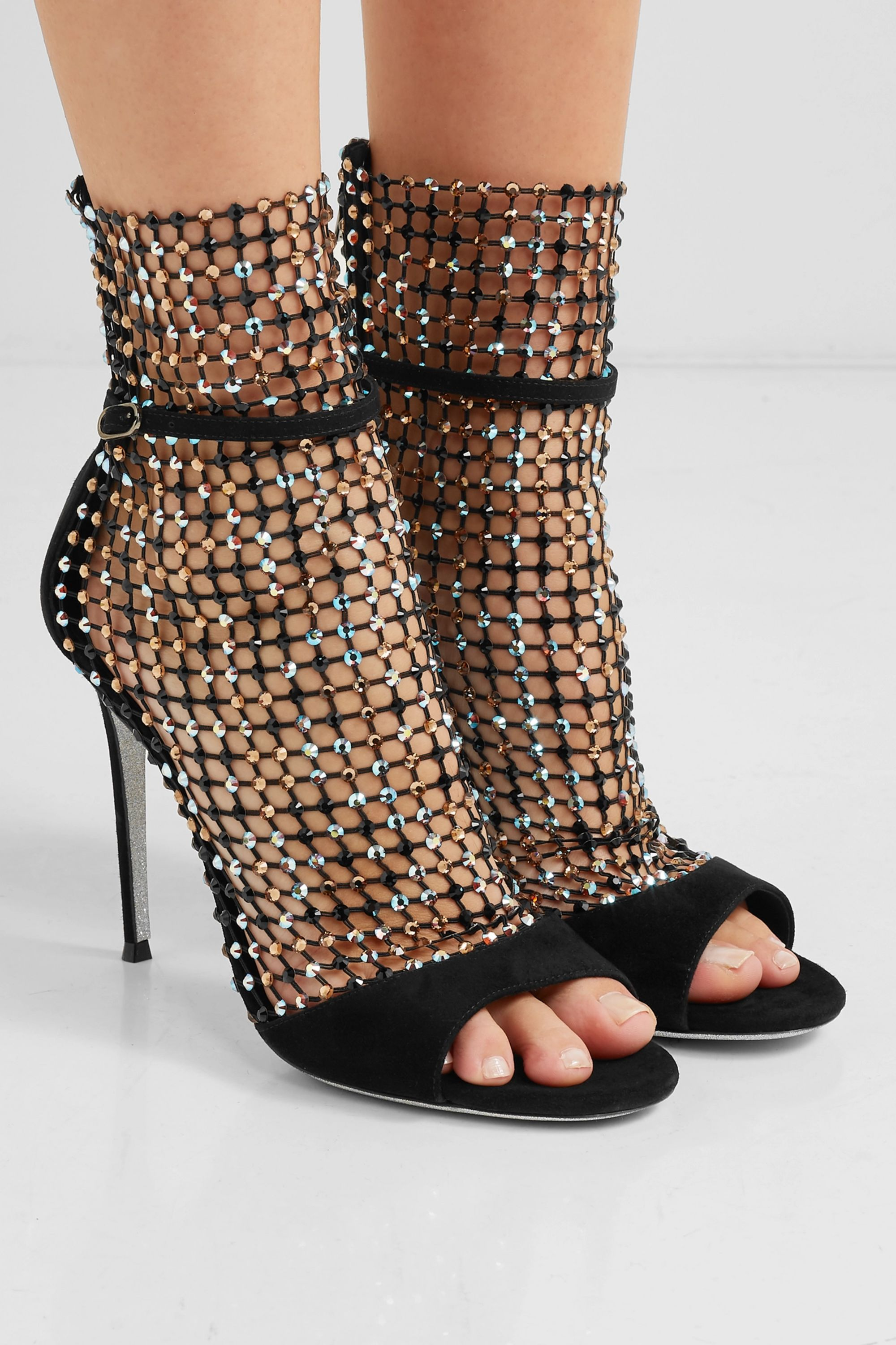 René Caovilla Crystal-embellished mesh and suede sandals