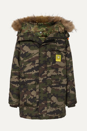 Hooded faux fur-trimmed camouflage-print shell down parka