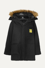 Hooded faux fur-trimmed shell down parka