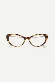 Cat-eye tortoiseshell acetate and gold-tone optical glasses