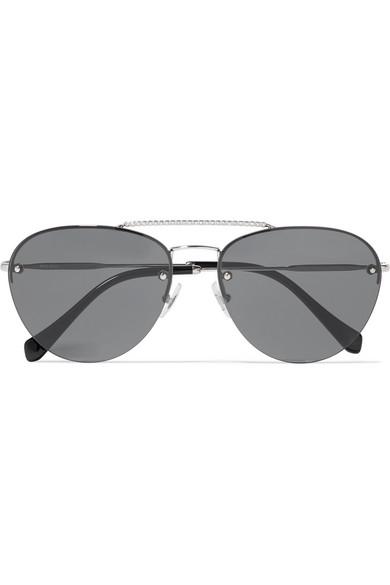 3938747ca Miu Miu | Aviator-style crystal-embellished silver-tone sunglasses |  NET-A-PORTER.COM