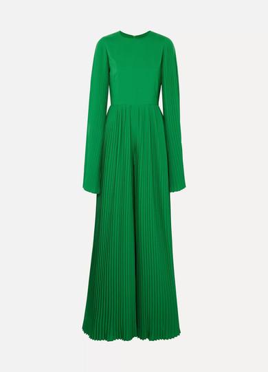 SEMSEM Pleated Crepe Jumpsuit in Emerald