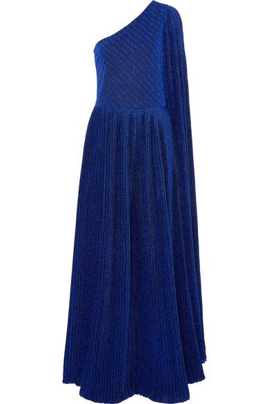SEMSEM One-Shoulder Pleated Metallic Stretch-Knit Jumpsuit in Royal Blue