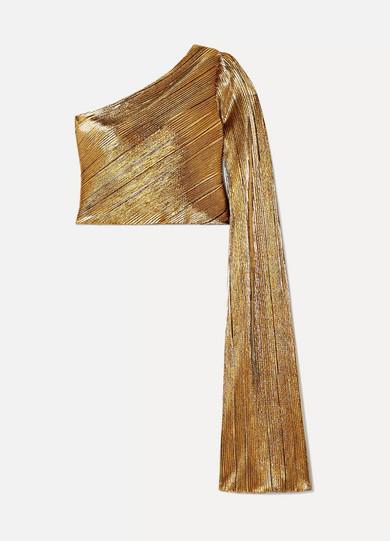 SEMSEM One-Shoulder Plissé-Lamé Top in Gold
