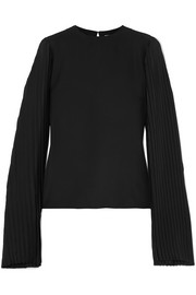 Pleated crepe de chine top