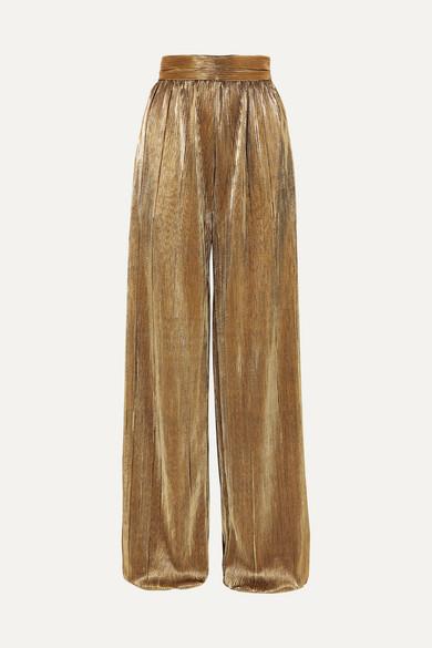 SEMSEM Plissé-Lamé Wide-Leg Pants in Gold