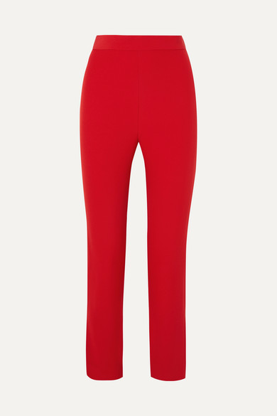SEMSEM Silk-Crepe High-Rise Slim-Leg Pants in Red