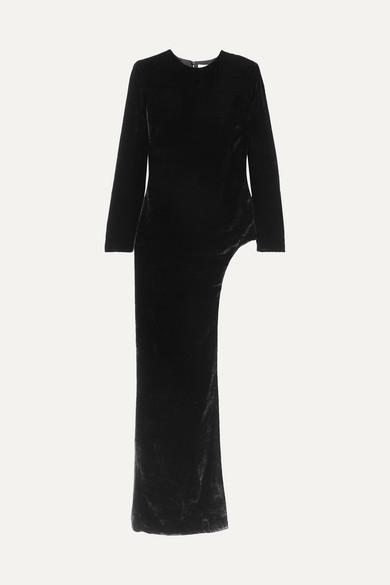 SEMSEM Asymmetric Velvet Tunic in Black