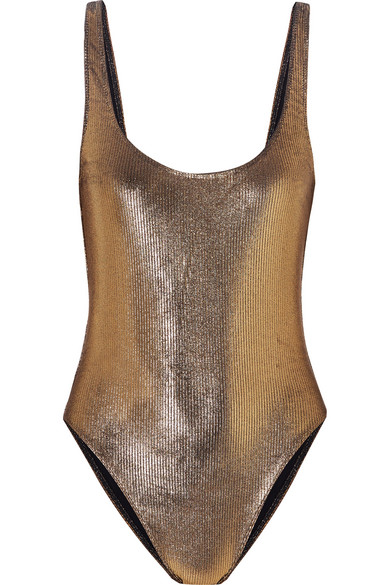 MARIE FRANCE VAN DAMME   Marie France Van Damme - Metallic Ribbed Swimsuit - Gold   Goxip