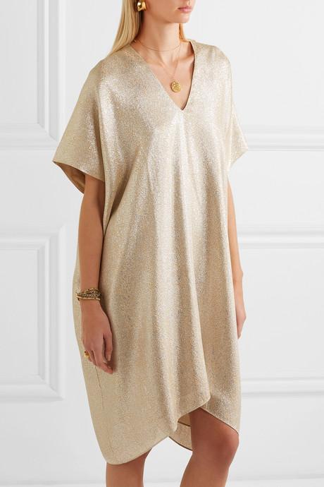 Midi Boubou metallic jacquard dress