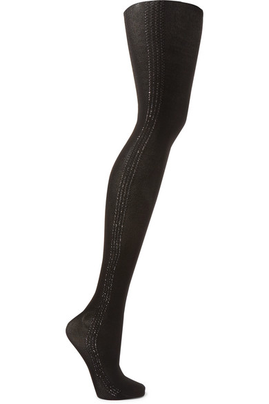 Silver Dust Metallic Striped 40 Denier Tights by Wolford