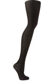 Wolford Silver Dust metallic striped 40 denier tights