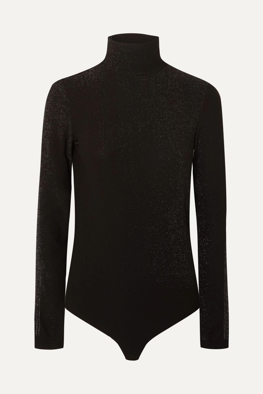 Wolford Silver Dust metallic stretch-jersey turtleneck thong bodysuit