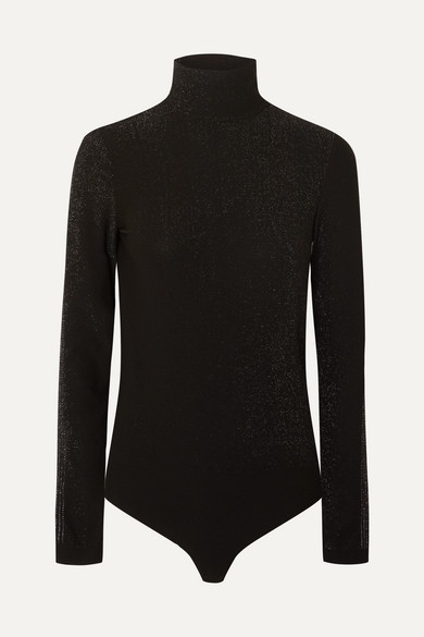WOLFORD | Wolford - Silver Dust Metallic Stretch-jersey Turtleneck Thong Bodysuit - Black | Goxip
