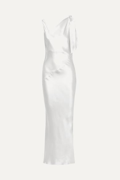 DEITAS Louise Asymmetric Silk-Satin Maxi Dress in Ivory