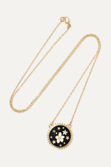 FOUNDRAE Dark Blossoms 18-Karat Gold, Diamond And Enamel Necklace