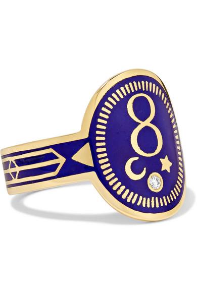 FOUNDRAE Karma 18-Karat Gold, Diamond And Enamel Ring