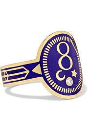 Karma 18-karat gold, diamond and enamel ring