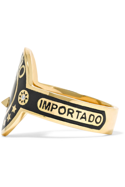 Foundrae Dream Ring aus 18 Karat Gold mit Emaille und Diamanten