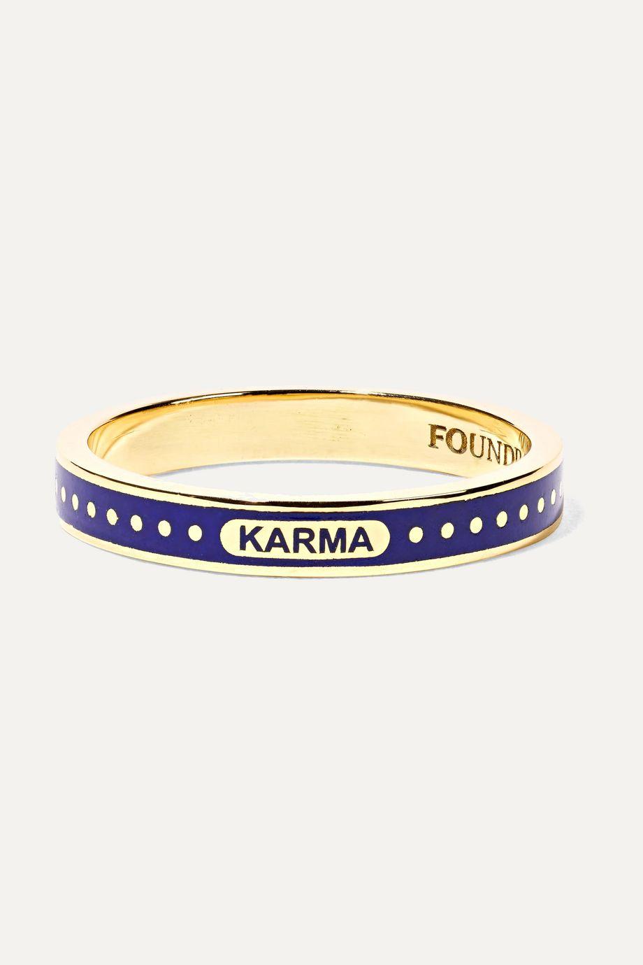 Foundrae Karma Ring aus 18 Karat Gold mit Emaille