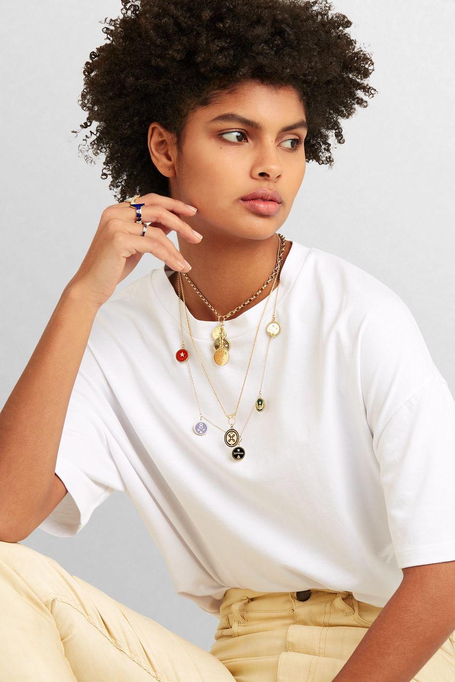 Foundrae Karma 18-karat gold enamel ring