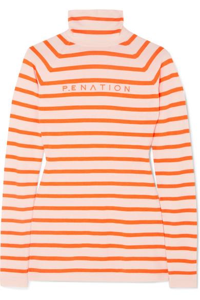 P.E NATION + Woolmark Second Stroke Striped Intarsia Wool-Blend Sweater in Orange