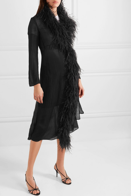 Feather-trimmed silk-crepon wrap dress