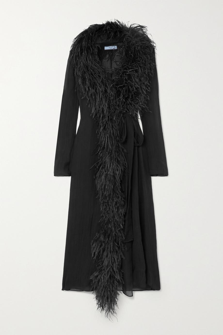 Prada Robe portefeuille en crépon de soie à plumes