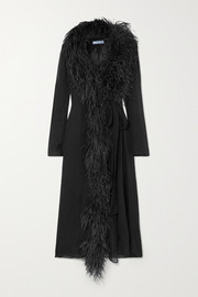Prada Feather-trimmed silk-crepon wrap dress
