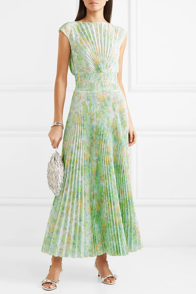 Prada Dress Pleated floral-print crepe de chine maxi dress