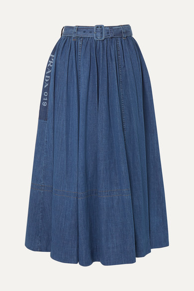 Prada Skirts Belted printed denim midi skirt