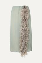 ebb8d5a9ade899 Prada Feather-trimmed silk-georgette skirt