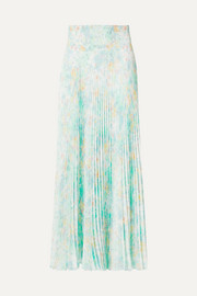 Floral-print pleated crepe de chine skirt