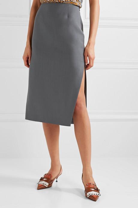 Mohair and wool-blend pencil skirt