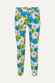 Prada Floral-print cotton-blend twill skinny pants