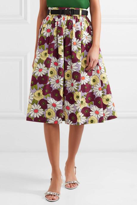 Belted floral-print cotton-poplin skirt